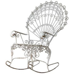 John Salterini Lawn Furnishing Wrought Iron Peacock Rocking Chair