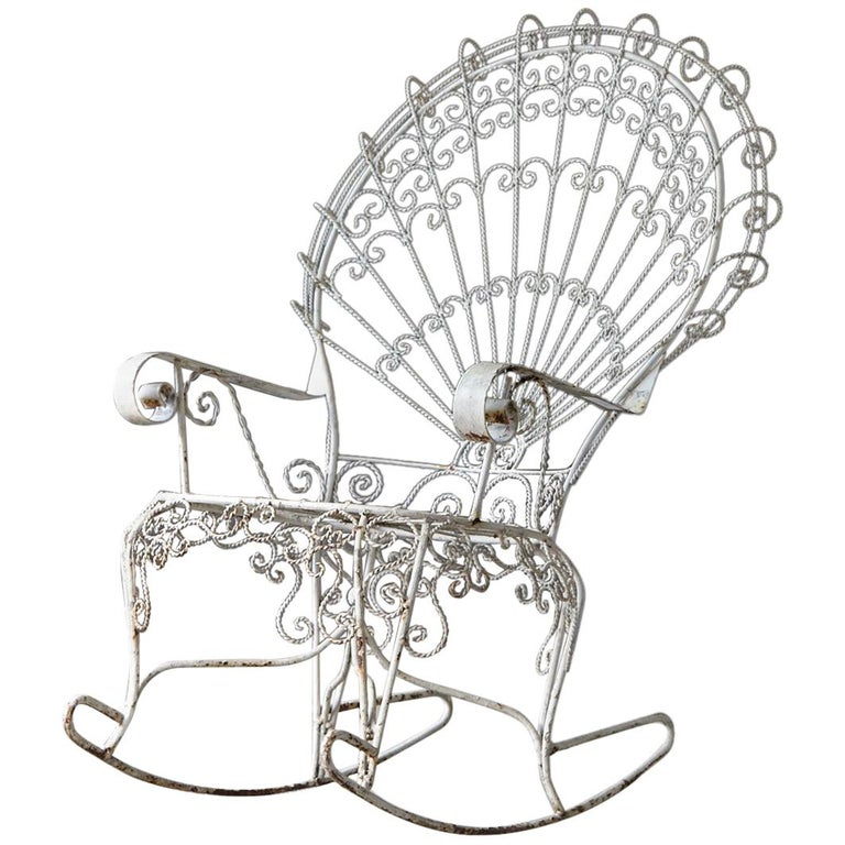 Victorian Lawn Furnishing Style Wrought Iron Peacock Rocking Chair