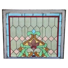 Victorian Leaded Stained Glass Blue Green Pink Orange Fleur de Lis Window