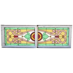 Victorian Leaded Stained Glass Pink Green Red Orange Windows w/ Jewels, a Pair