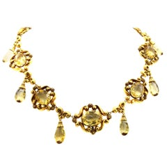Victorian Lemon Citrine 18 Karat Gold Necklace