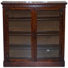 Victorian Library Bookcase in Mahogany with Glazed Doors