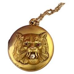 Victorian Lion Locket Necklace Diamond Ruby 14 Karat Gold Panther Leopard Tiger