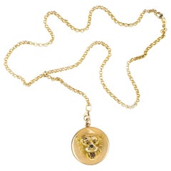 Victorian Lion Locket with Longchain