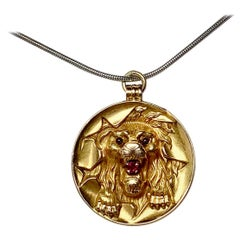 Victorian Lion Pendant Ruby 14 Karat Gold Circus Hoop Panther Leopard Tiger