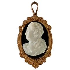 Victorian Locket Charm with Stone and Carnelian Cameo in 10 Karat Rose Gold
