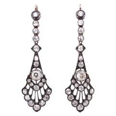 Victorian Long Old-Mine Cut Diamond Earrings, circa 1890s