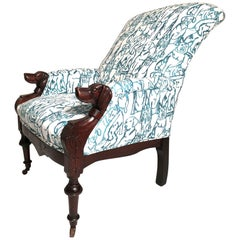 Victorian Lounge Chair with Carved Dog Head Armrests