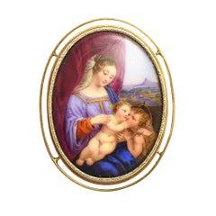"Victorian ""Madonna & Child with St John"" Enamel Miniature Brooch"