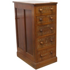 Victorian Mahogany 5-Drawer Pharmacy Chest of Drawers