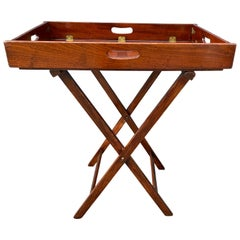 Victorian Mahogany and Brass Butlers Tray on Stand