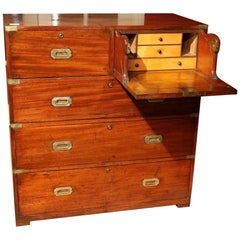 Victorian Mahogany and Brass Military Officer's Campaign Chest, Ross & Co Dublin