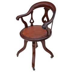 Victorian Mahogany and Leather Swivel Desk Office Chair