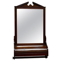 Victorian Mahogany Bathroom Wall Mirror with Towel Rail