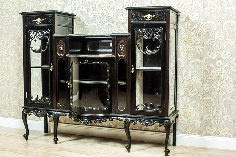 We present you this cabinet from the Victorian period, with the form resembling the furniture in the Chippendale style. This piece of furniture is characterized by rich ornaments and smoothness of the shapes. The whole is kept in a shade of very
