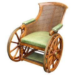 Victorian Mahogany Campaign Wheel Chair