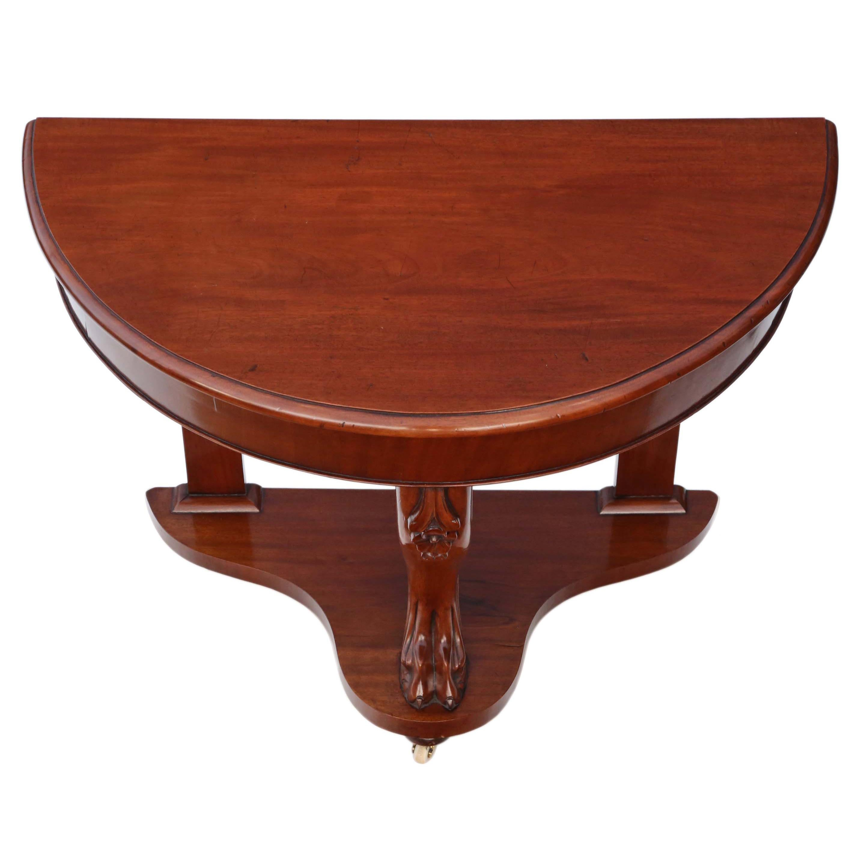 Victorian Mahogany Demi-Lune Console Table