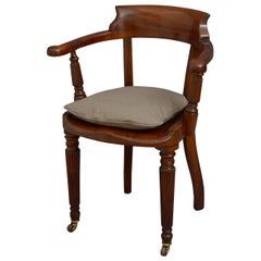 Victorian Mahogany Desk Chair with Cushion Office Chair