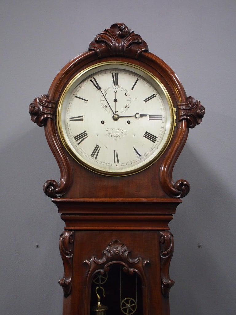 Victorian Mahogany Drum Head Longcase Clock by W. C. Shaw, Glasgow For Sale 6