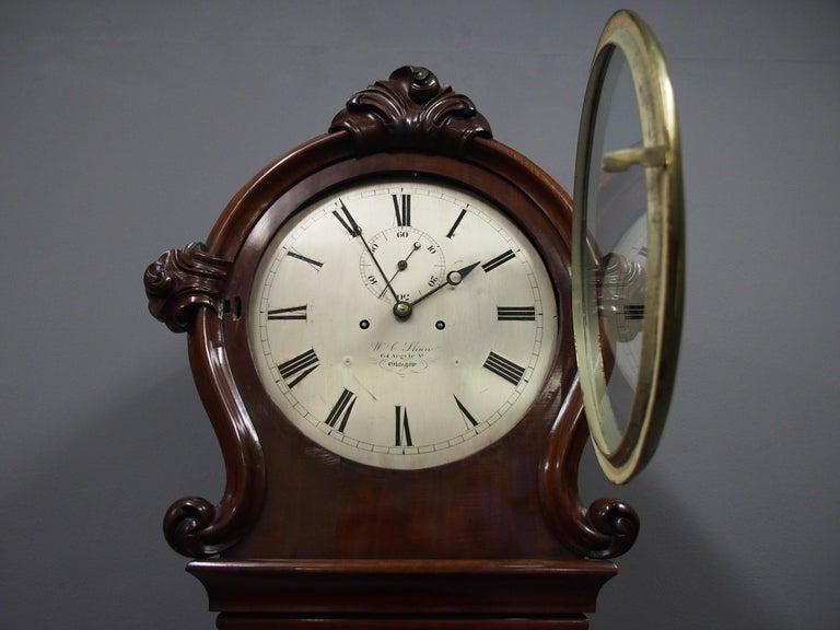 Victorian Mahogany Drum Head Longcase Clock by W. C. Shaw, Glasgow In Good Condition For Sale In Edinburgh, GB