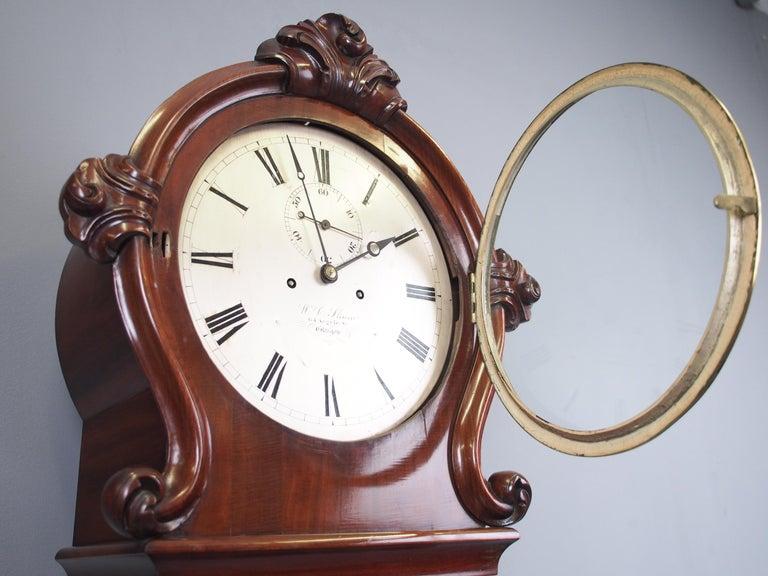 19th Century Victorian Mahogany Drum Head Longcase Clock by W. C. Shaw, Glasgow For Sale