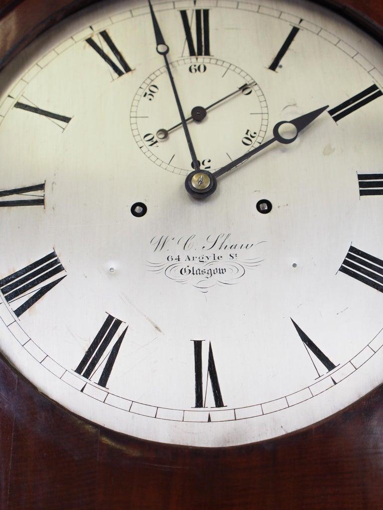 Victorian Mahogany Drum Head Longcase Clock by W. C. Shaw, Glasgow For Sale 1