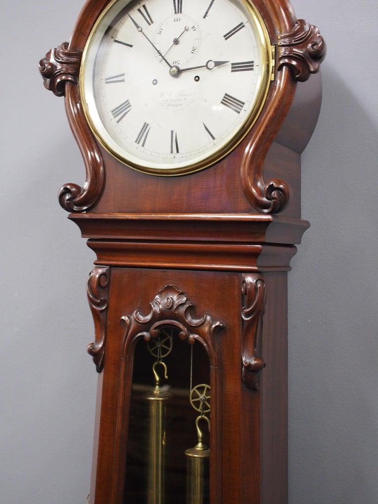 Victorian Mahogany Drum Head Longcase Clock by W. C. Shaw, Glasgow For Sale 3