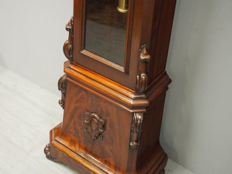 Victorian Mahogany Drum Head Longcase Clock by W. C. Shaw, Glasgow For Sale 4