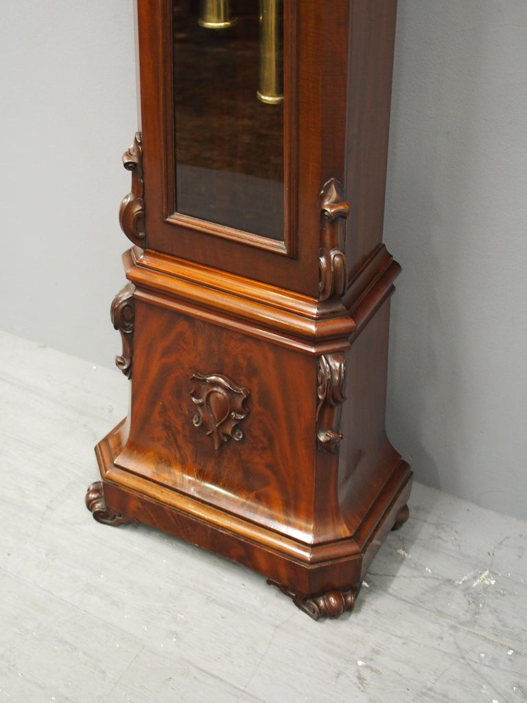 Victorian Mahogany Drum Head Longcase Clock by W. C. Shaw, Glasgow For Sale 5