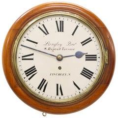 Victorian Mahogany English Fusee Round Dial Wall Clock, circa 1900