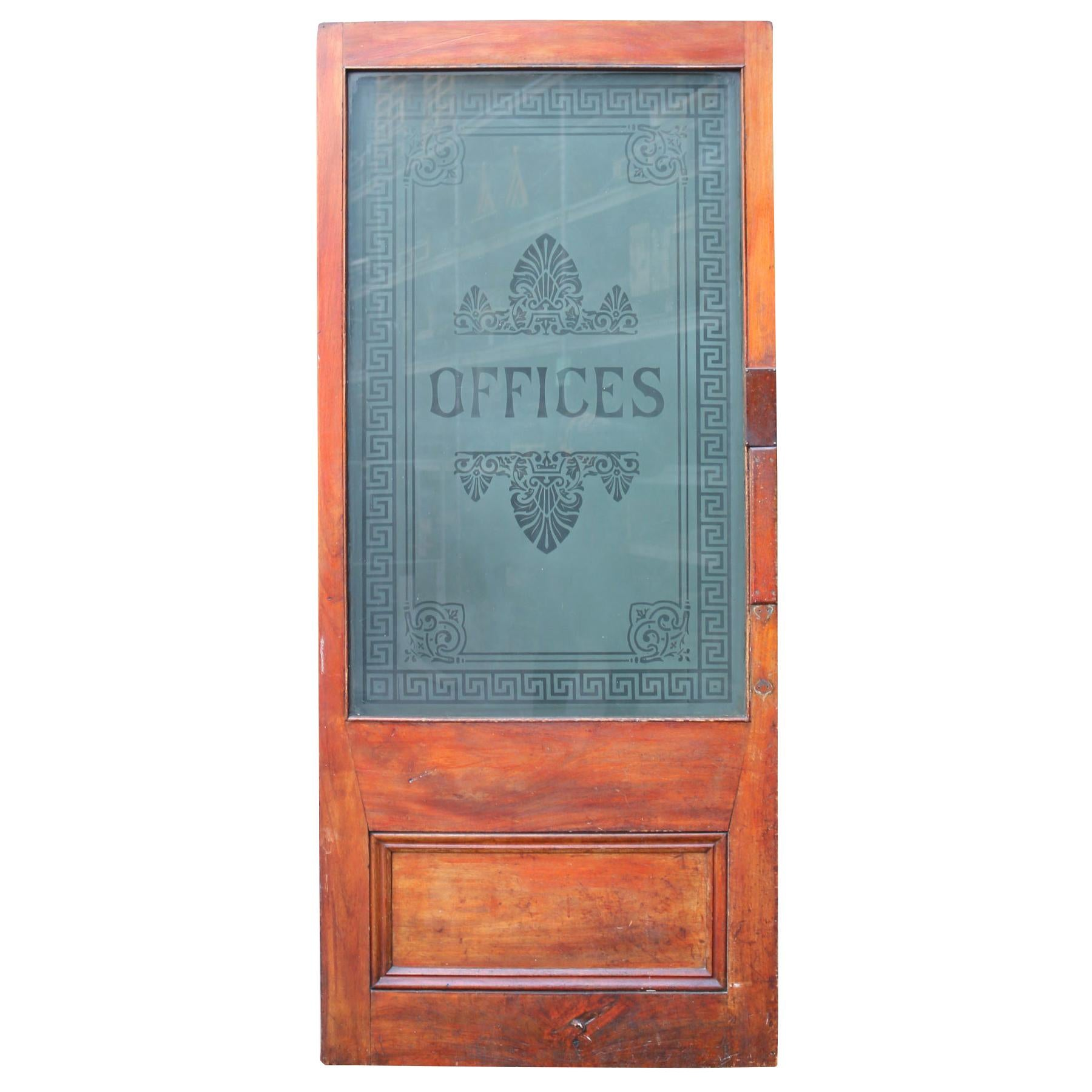 Early 20th Century Mahogany Door With Etched Glass At 1stdibs