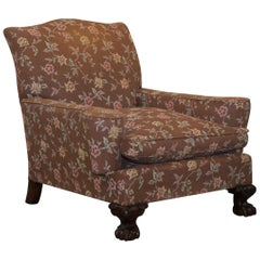 Victorian Mahogany Frame Claw & Ball Feet Library Club Armchair Floral Upholster