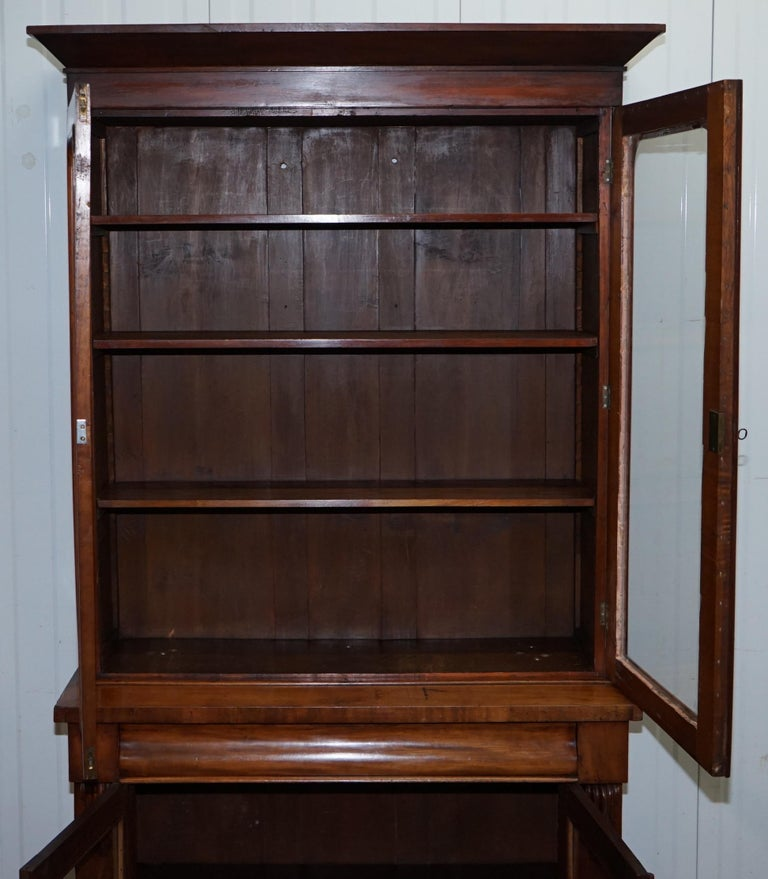 Victorian Mahogany Glass Doored Library Bookcase Cabinet