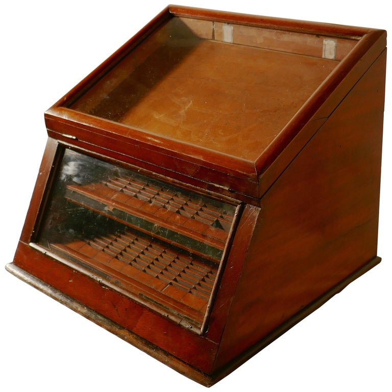 Victorian Mahogany Haberdashery Counter Top Shop Display Cabinet For Sale