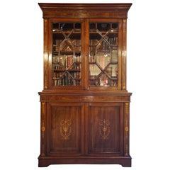 Victorian Mahogany Inlaid Chiffonier Bookcase