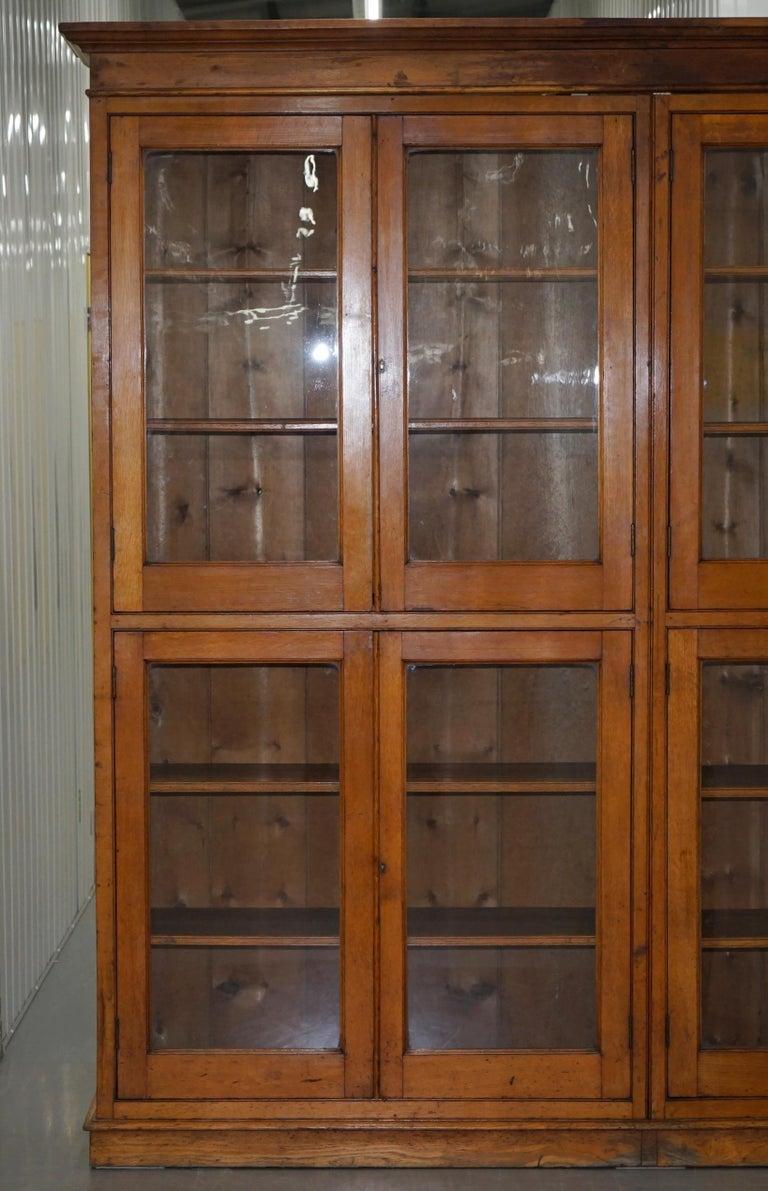 Victorian Mahogany Oak Library Bookcase Cabinet Adjule Shelves Gl Doors