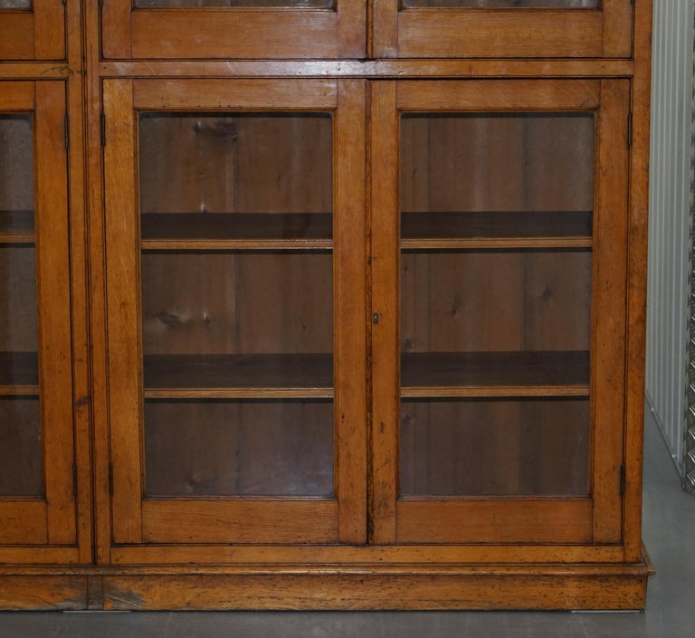 Victorian Mahogany And Oak Library Bookcase Cabinet