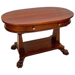 Victorian Mahogany Oval Library Table, Claw Feet