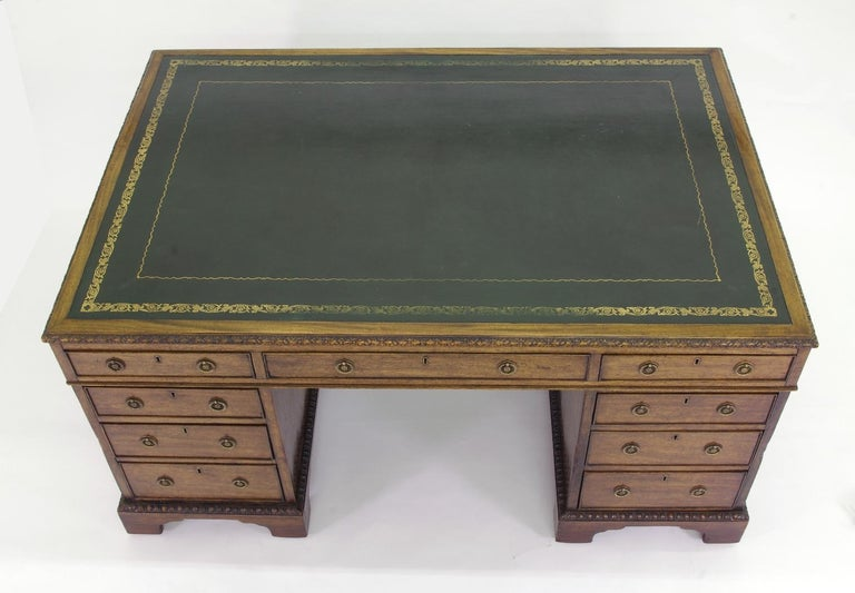 George III Victorian Mahogany Partners Desk, circa 1840-1860 For Sale