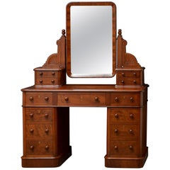 Victorian Mahogany Pedestal Dressing Table