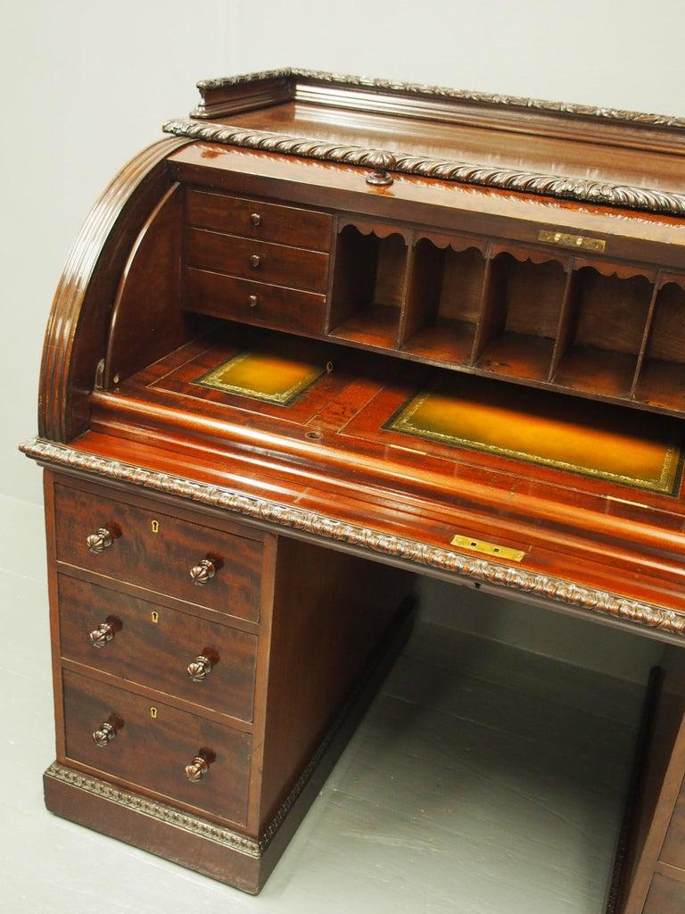 Victorian Mahogany Roll Top Bureau For Sale 6