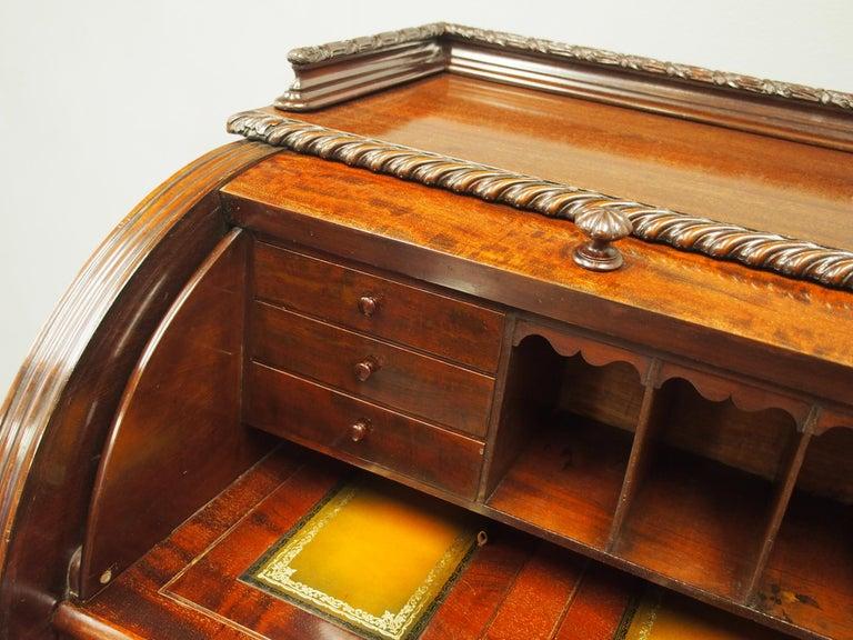 Victorian Mahogany Roll Top Bureau For Sale 7