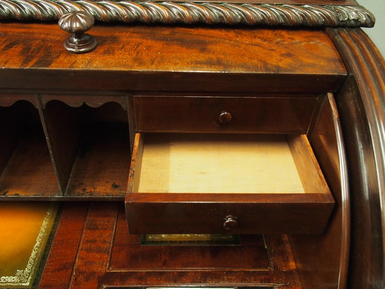 Victorian Mahogany Roll Top Bureau For Sale 8