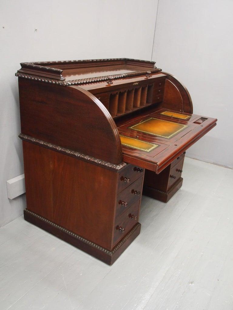 Victorian Mahogany Roll Top Bureau For Sale 9