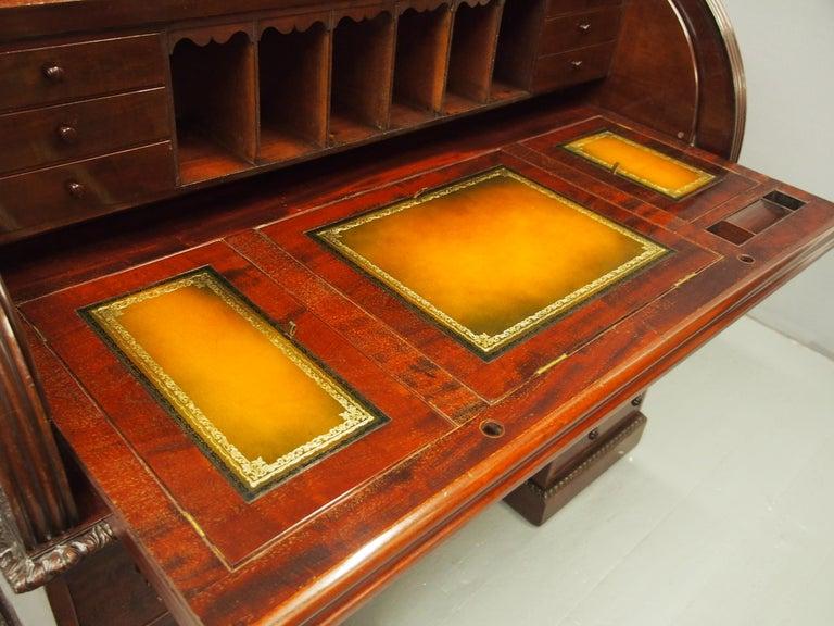 Victorian Mahogany Roll Top Bureau For Sale 10