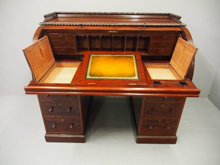 Victorian Mahogany Roll Top Bureau For Sale 11