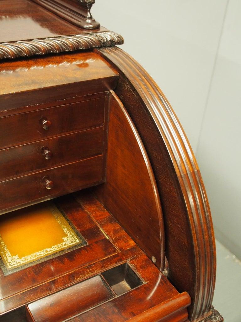 Victorian Mahogany Roll Top Bureau For Sale 14