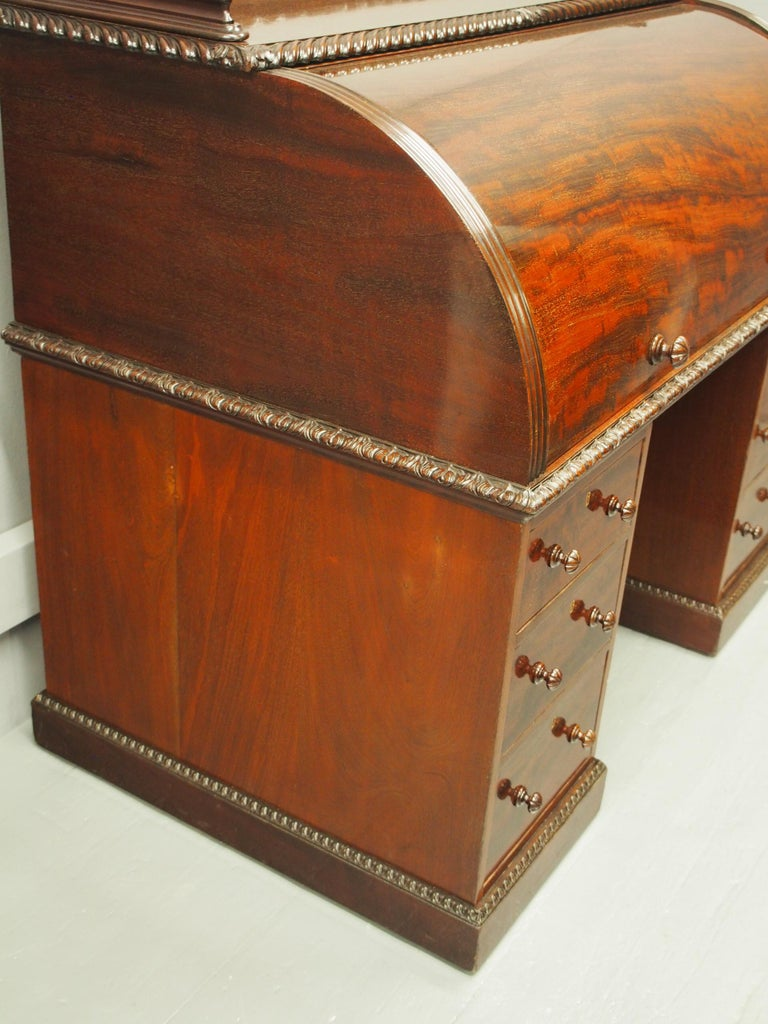 Victorian Mahogany Roll Top Bureau For Sale 2