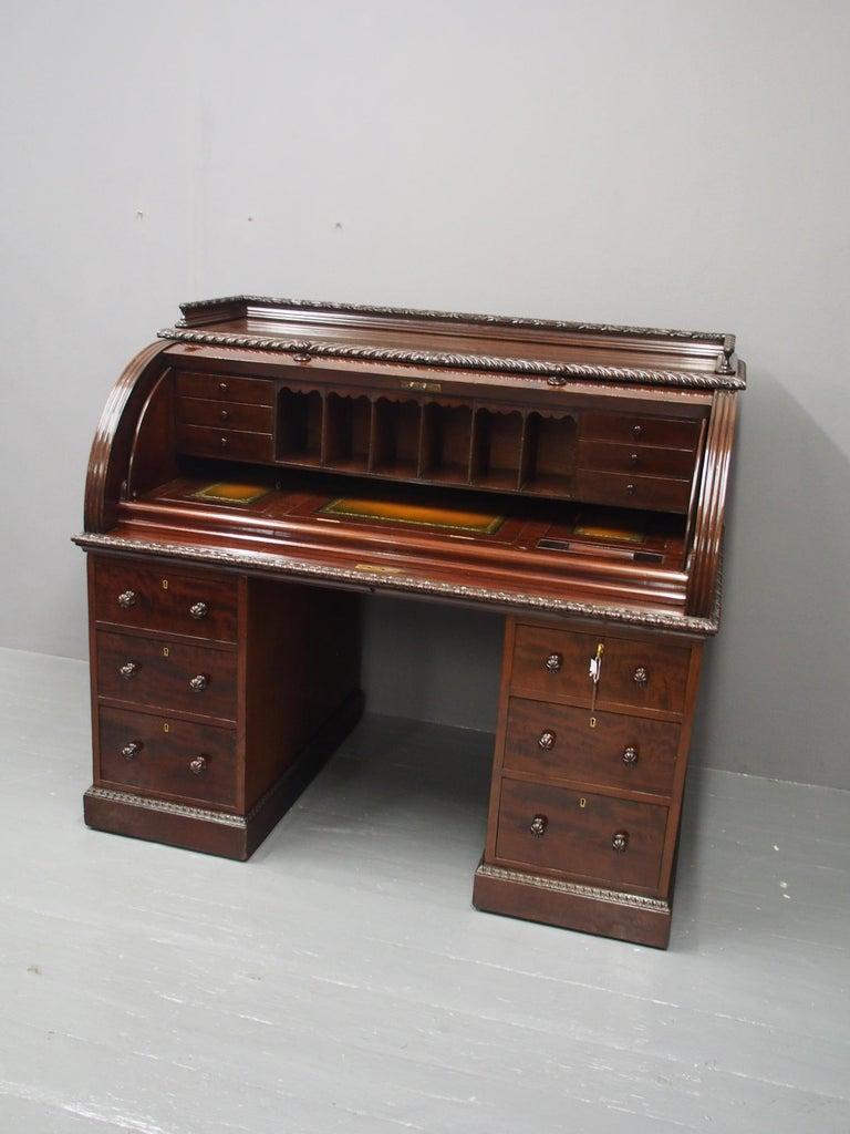 Victorian Mahogany Roll Top Bureau For Sale 4