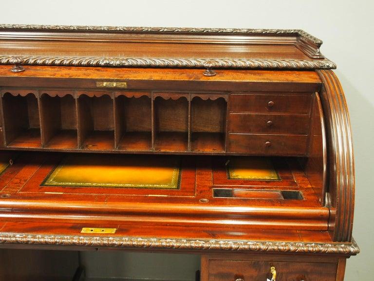 Victorian Mahogany Roll Top Bureau For Sale 5